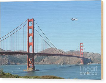 Nasa Space Shuttle's Final Hurrah Over The San Francisco Golden Gate Bridge Wood Print by Wingsdomain Art and Photography