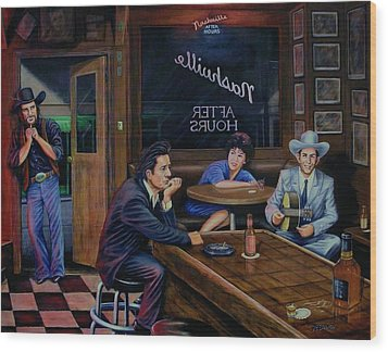 Nashville After Hours Wood Print by Antonio F Branco