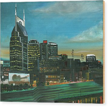Nashville At Dusk Wood Print