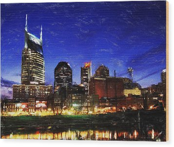 Nashville At Twilight Wood Print by Dean Wittle