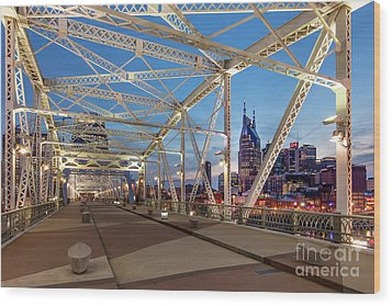 Wood Print featuring the photograph Nashville Bridge by Brian Jannsen