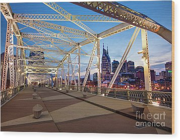 Wood Print featuring the photograph Nashville Bridge II by Brian Jannsen