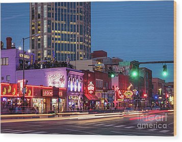 Wood Print featuring the photograph Nashville - Broadway Street by Brian Jannsen