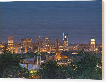 Nashville By Night 2 Wood Print