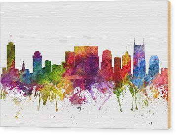 Nashville Cityscape 06 Wood Print by Aged Pixel