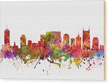 Nashville Cityscape 08 Wood Print by Aged Pixel
