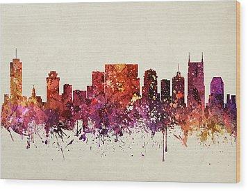 Nashville Cityscape 09 Wood Print by Aged Pixel