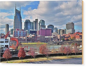 Wood Print featuring the photograph Nashville Clouds by Frozen in Time Fine Art Photography