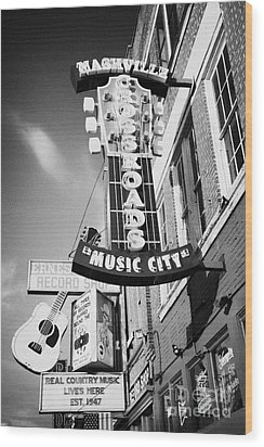 nashville crossroads music city ernest tubbs record shop on broadway downtown Nashville Tennessee US Wood Print by Joe Fox