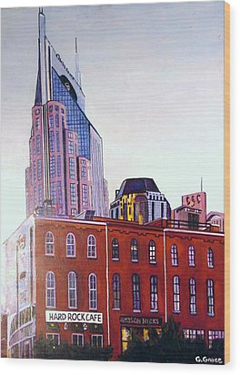 Nashville From River Wood Print by George Grace