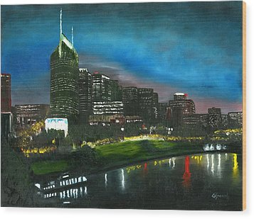 Nashville Nights Wood Print