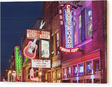 Wood Print featuring the photograph Nashville Signs by Brian Jannsen