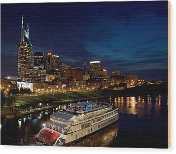 Nashville Skyline And Riverboat Wood Print by Mark Currier