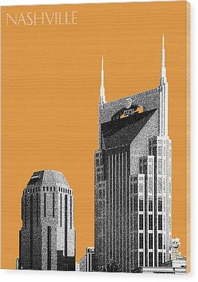 Nashville Skyline At And T Batman Building - Orange Wood Print by DB Artist