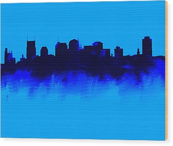 Nashville  Skyline Blue  Wood Print by Enki Art