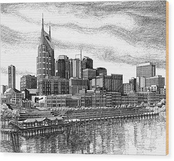 Nashville Skyline Ink Drawing Wood Print by Janet King
