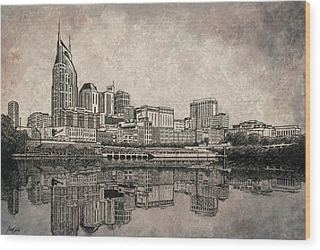Nashville Skyline Mixed Media Painting  Wood Print by Janet King