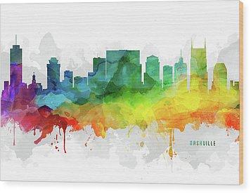 Nashville Skyline Mmr-ustnna05 Wood Print by Aged Pixel