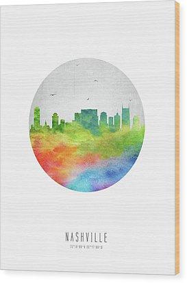 Nashville Skyline Ustnna20 Wood Print by Aged Pixel