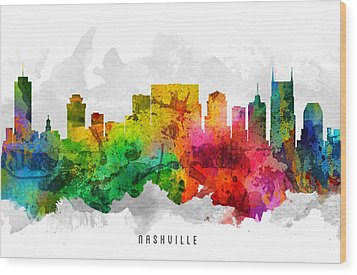 Nashville Tennessee Cityscape 12 Wood Print by Aged Pixel