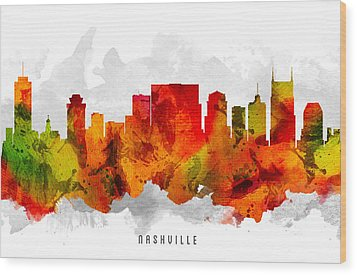 Nashville Tennessee Cityscape 15 Wood Print by Aged Pixel