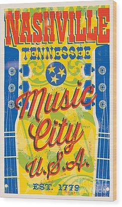 Nashville Tennessee Poster Wood Print