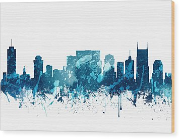 Nashville Tennessee Skyline 19 Wood Print by Aged Pixel