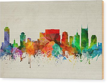 Nashville Tennessee Skyline 22 Wood Print by Aged Pixel