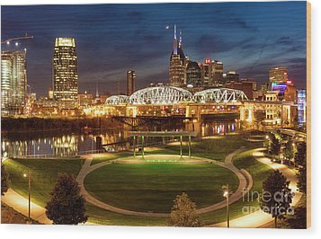 Wood Print featuring the photograph Nashville Twilight Skyline by Brian Jannsen