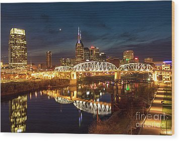Wood Print featuring the photograph Nashville Twilight Skyline II by Brian Jannsen