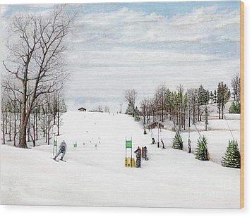 Wood Print featuring the painting Nastar At Seven Springs Mountain Resort by Albert Puskaric