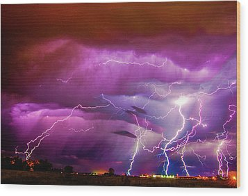 Nasty But Awesome Late Night Lightning 008 Wood Print