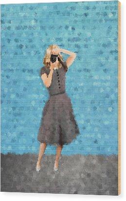 Wood Print featuring the digital art Natalie by Nancy Levan
