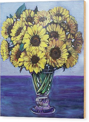 Natasha's Sunflowers Wood Print by Sheila Tajima