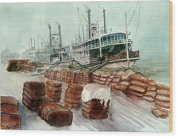 Natchez Cotton Docks  Wood Print