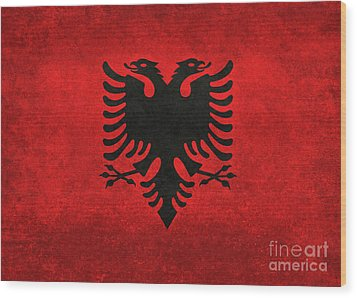 Wood Print featuring the digital art National Flag Of Albania With Distressed Vintage Treatment  by Bruce Stanfield