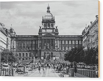 Wood Print featuring the photograph National Museum At Wenceslas Square. Prague by Jenny Rainbow