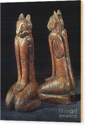 Native American Carvings Wood Print by Granger