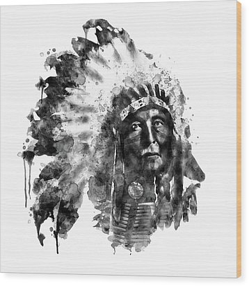 Wood Print featuring the mixed media Native American Chief Black And White by Marian Voicu