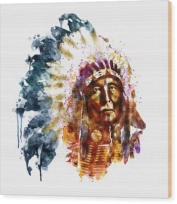 Native American Chief Wood Print