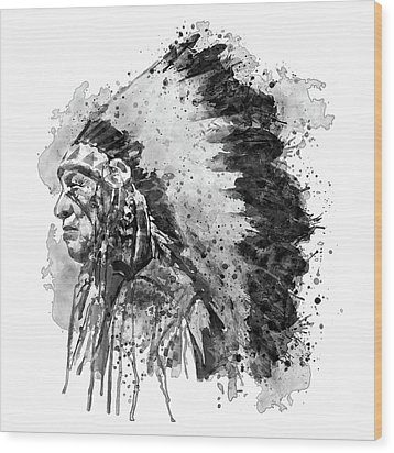 Wood Print featuring the mixed media Native American Chief Side Face Black And White by Marian Voicu