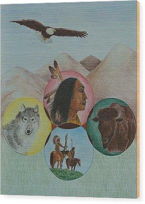 Native American Circle Of Life Wood Print by Jessica Hallberg