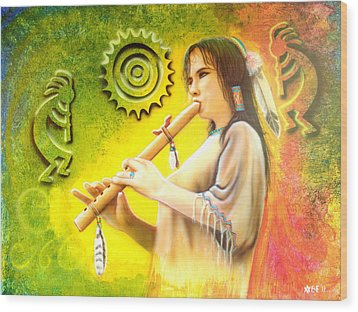 Native American Flute Player Wood Print by Amatzia Baruchi