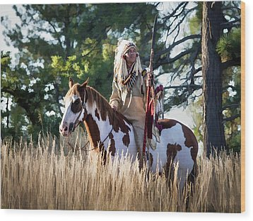 Native American In Full Headdress On A Paint Horse Wood Print by Nadja Rider