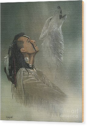 Native American Indian Wood Print by Morgan Fitzsimons