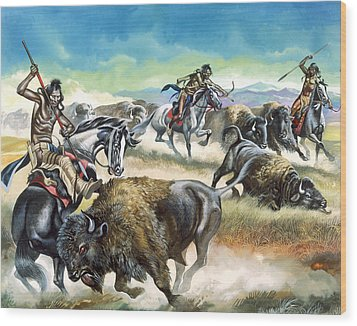 Native American Indians Killing American Bison Wood Print by Ron Embleton