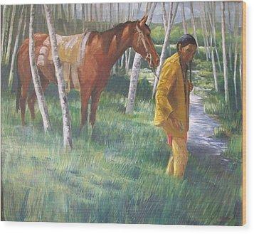 Native American Leading Horse Wood Print