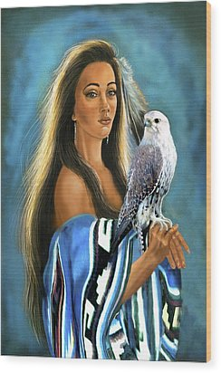 Native American Maiden With Falcon Wood Print by Regina Femrite