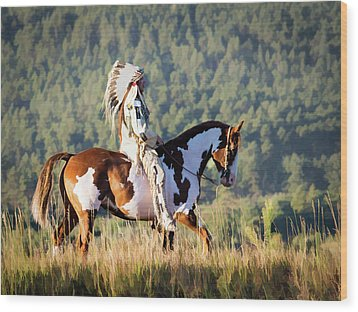 Native American On His Paint Horse Wood Print by Nadja Rider