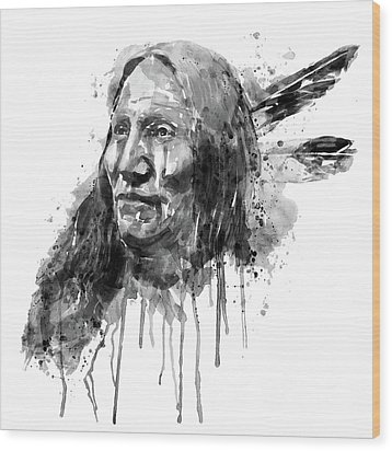 Wood Print featuring the mixed media Native American Portrait Black And White by Marian Voicu